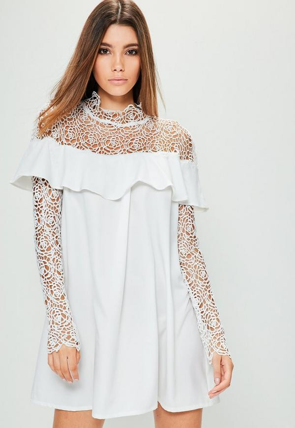 White Lace Crochet Dress Inspirational White Crochet Lace top Frill Sleeve Dress Of Awesome 48 Photos White Lace Crochet Dress
