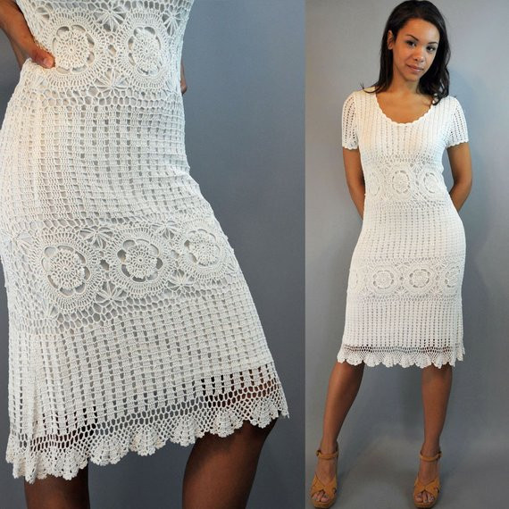White Lace Crochet Dress Lovely Vintage 80s Dress Crochet Dress White Crocheted Lace Dress Of Awesome 48 Photos White Lace Crochet Dress