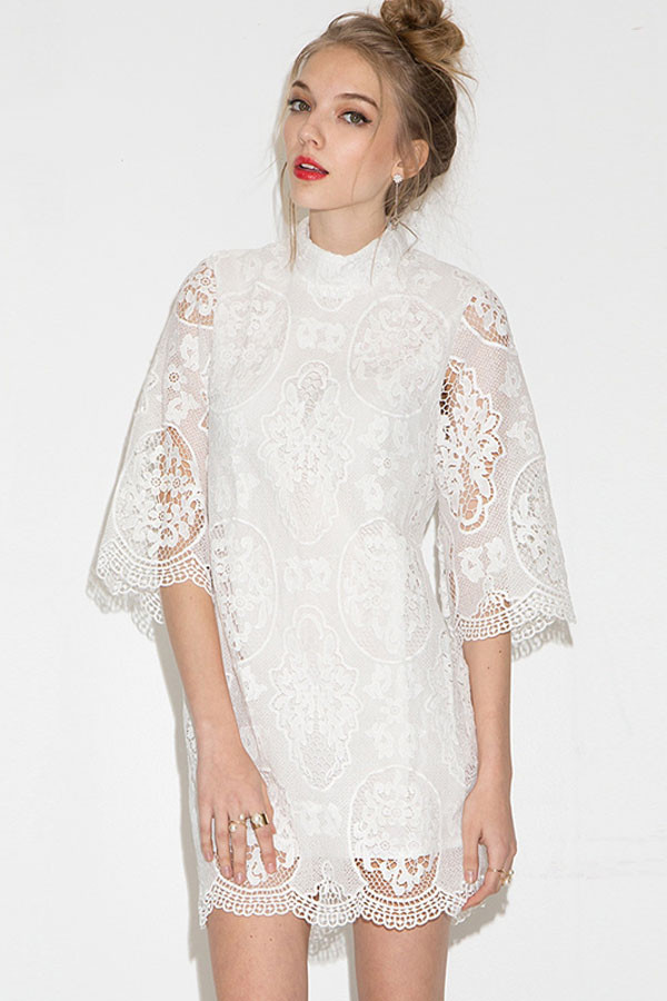 White Lace Crochet Dress New White Crochet Lace Stand Collar Casual Dress Of Awesome 48 Photos White Lace Crochet Dress