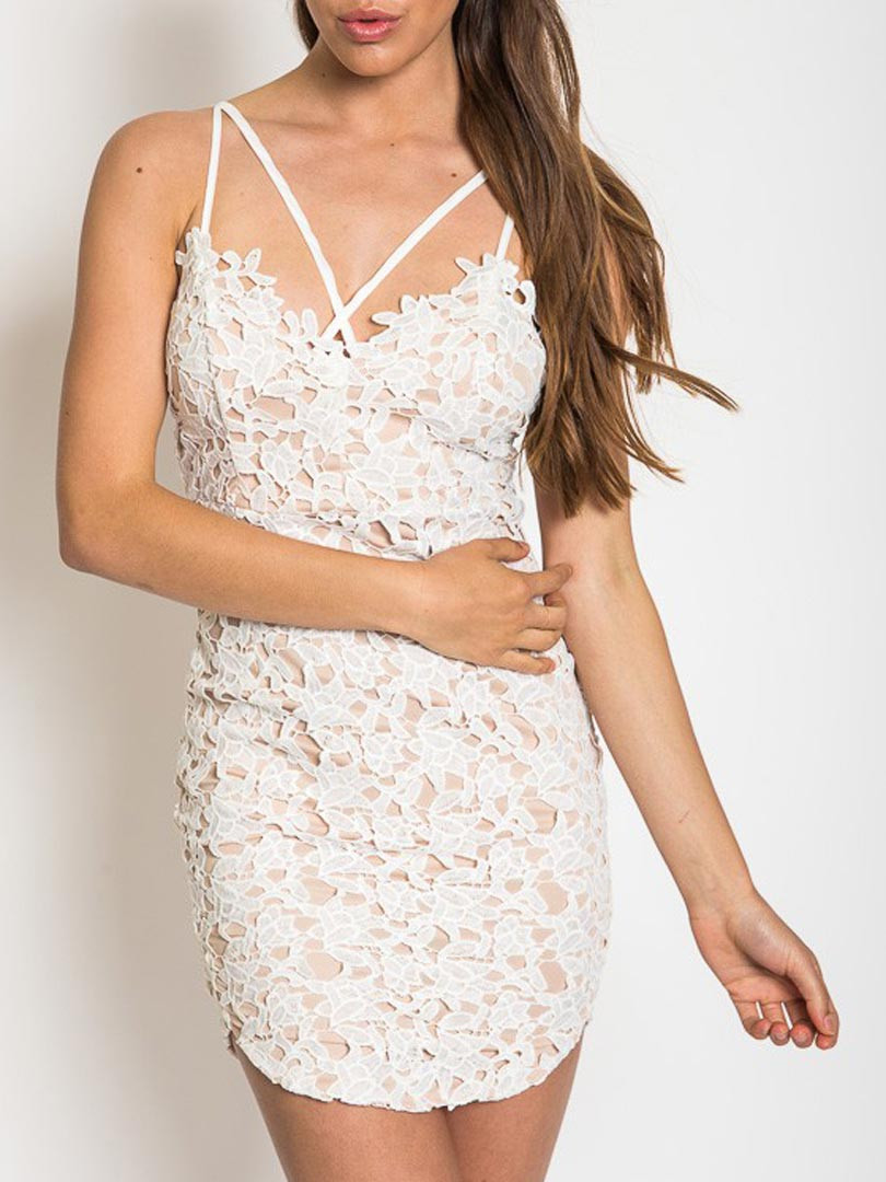 White Lace Crochet Dress Unique White Backless Lace Crochet Lined Cami Bodycon Dress Of Awesome 48 Photos White Lace Crochet Dress