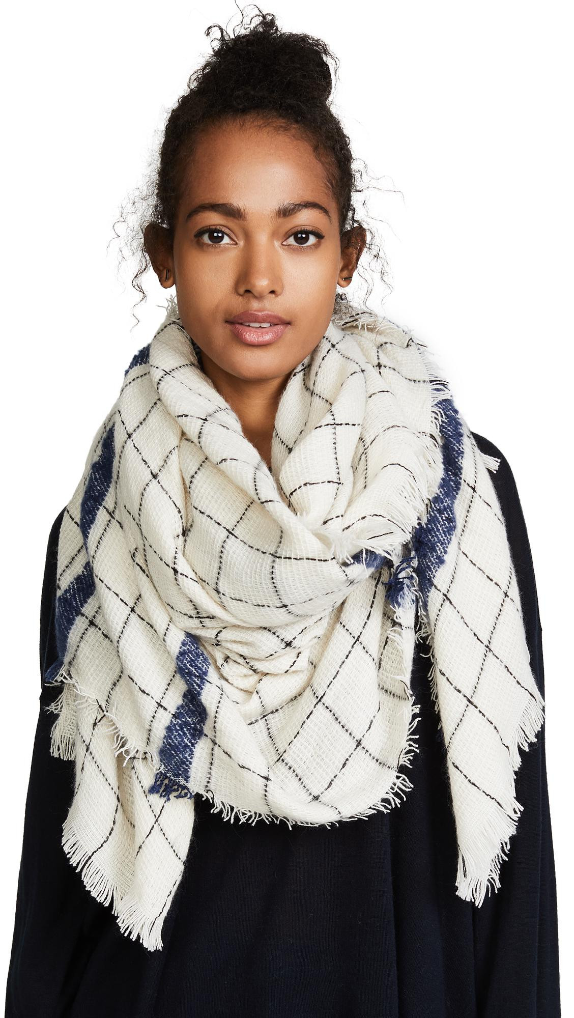 Lyst Hat Attack Windowpane Scarf With Border Stripe