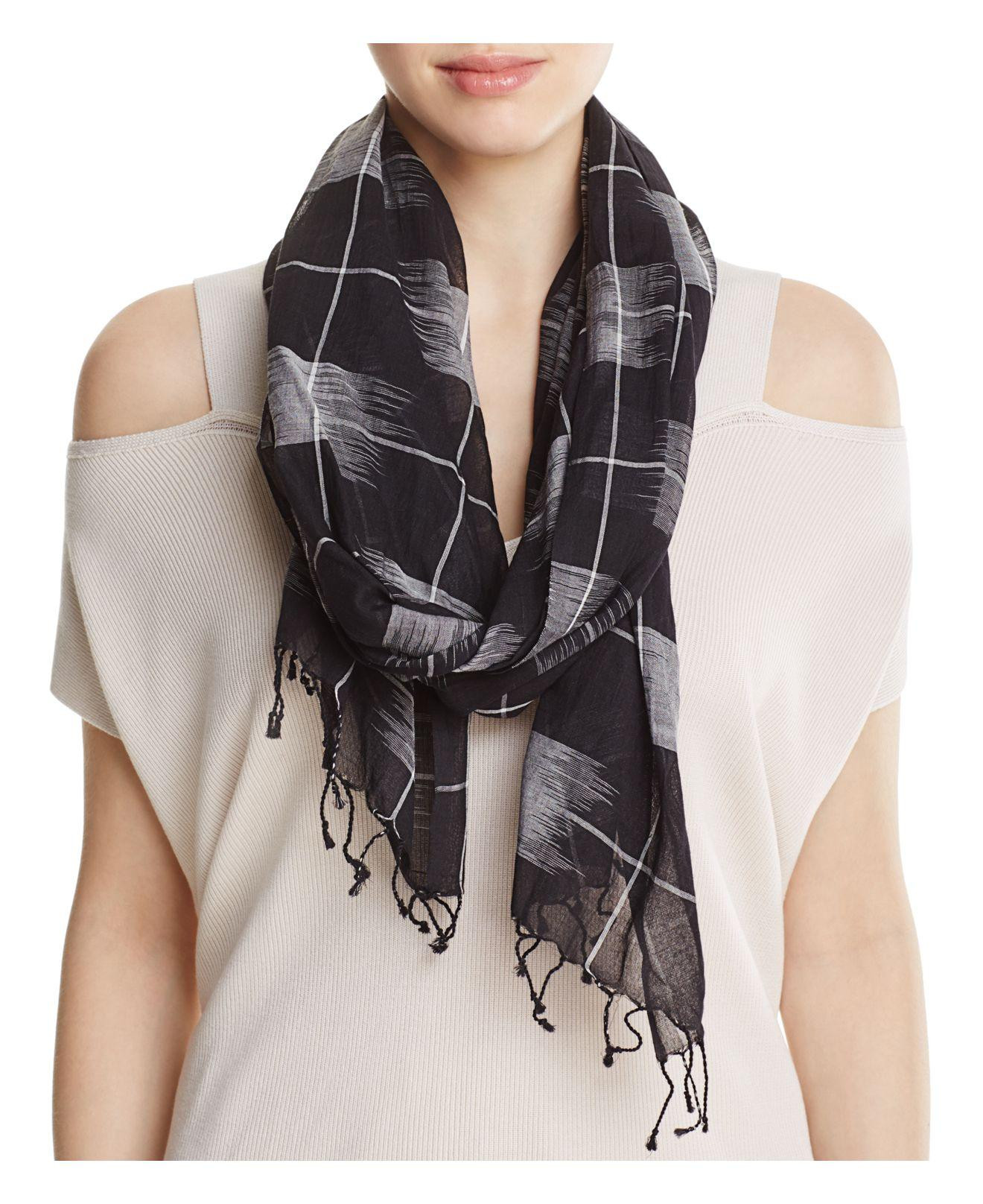Lyst Eileen fisher Windowpane Scarf in Black