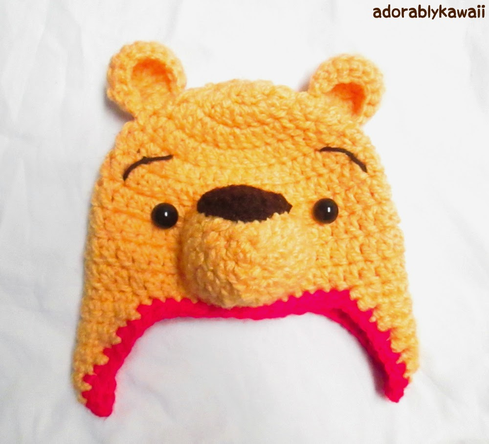 Winnie the Pooh Crochet Hat Pattern for Toddler sizing