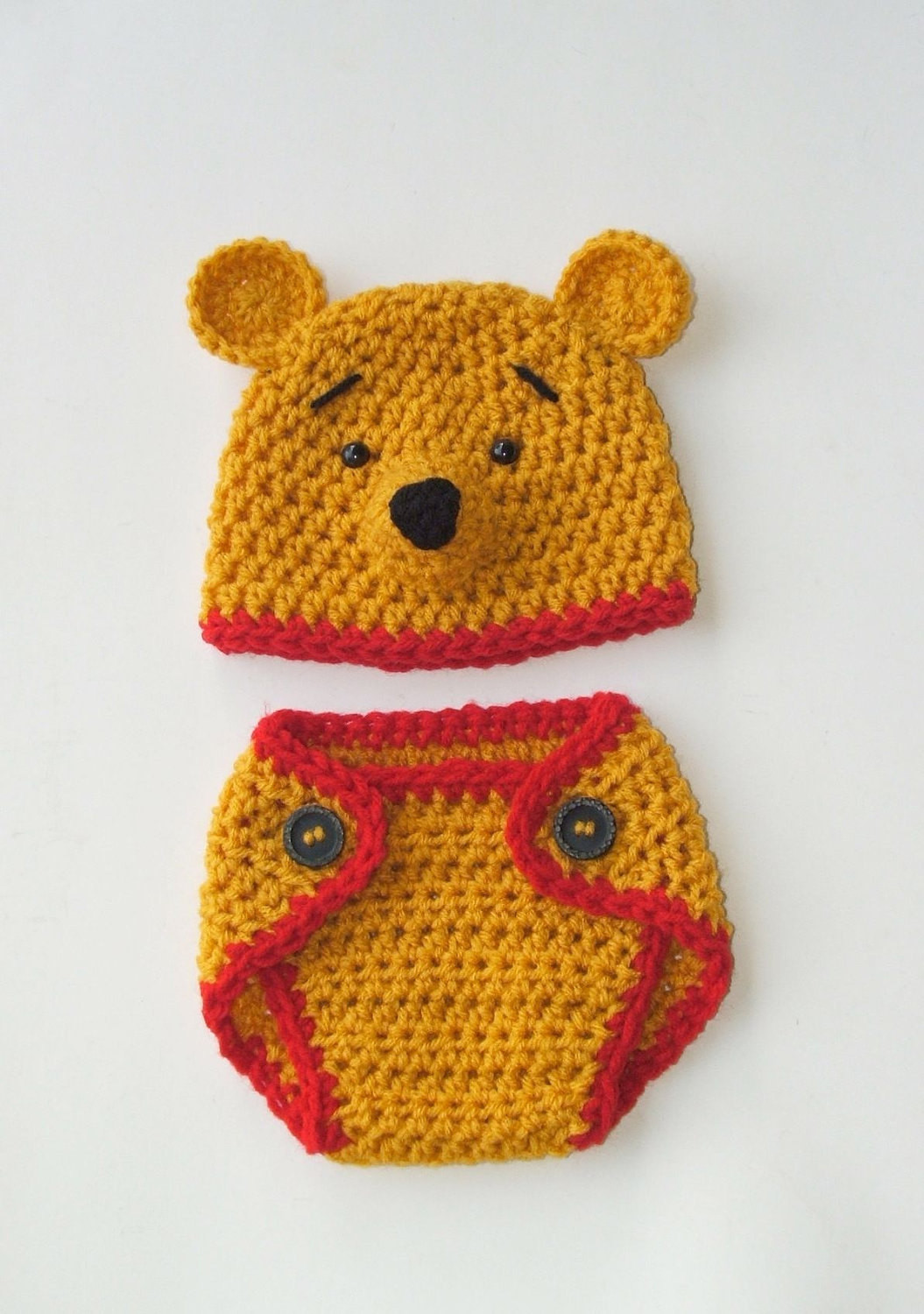 Winnie the Pooh Crochet Lovely Winnie the Pooh Inspired Diaper Cover & Hat Newborn 3month Of Wonderful 41 Ideas Winnie the Pooh Crochet