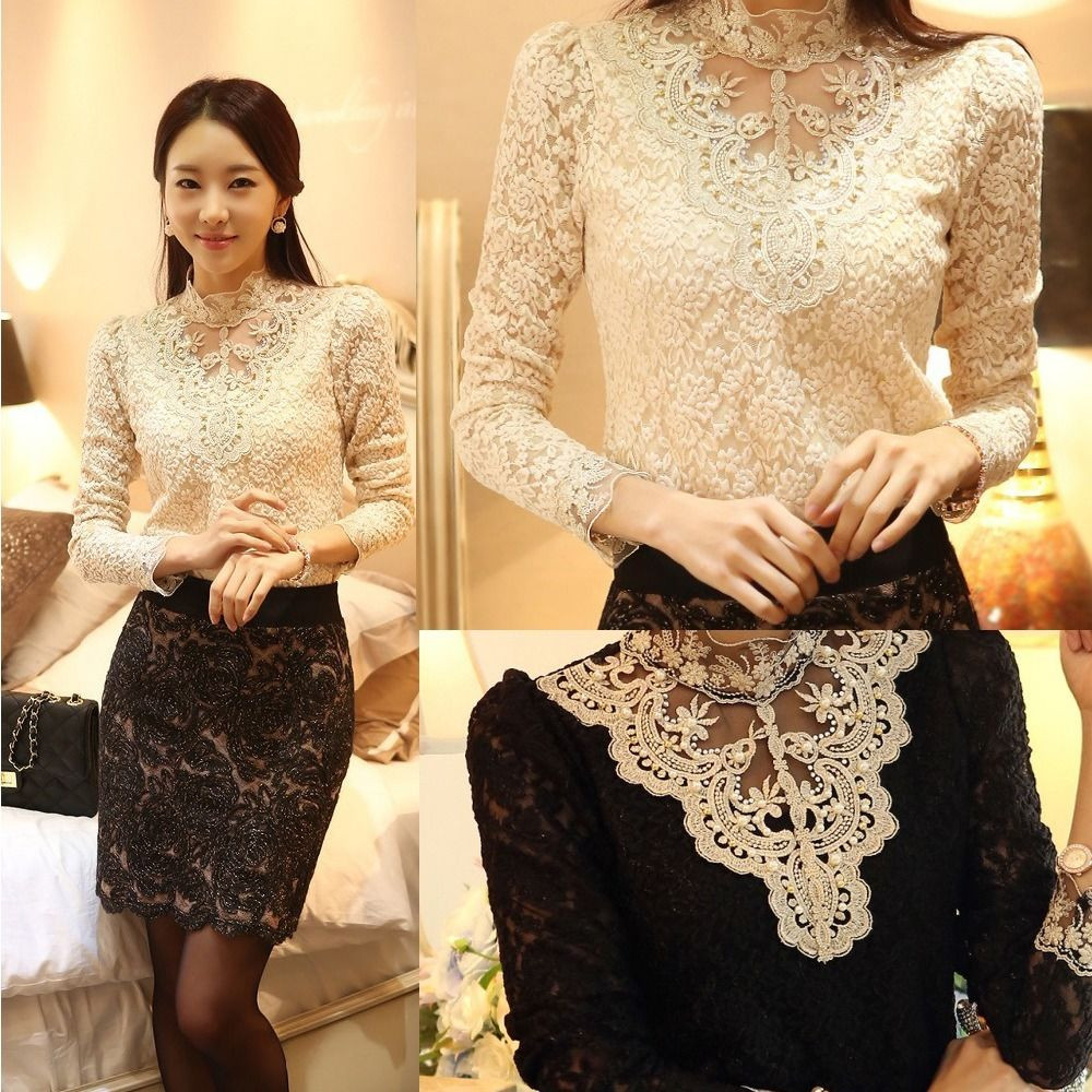 New Women s Long sleeve Turtle neck Floral Lace Tops