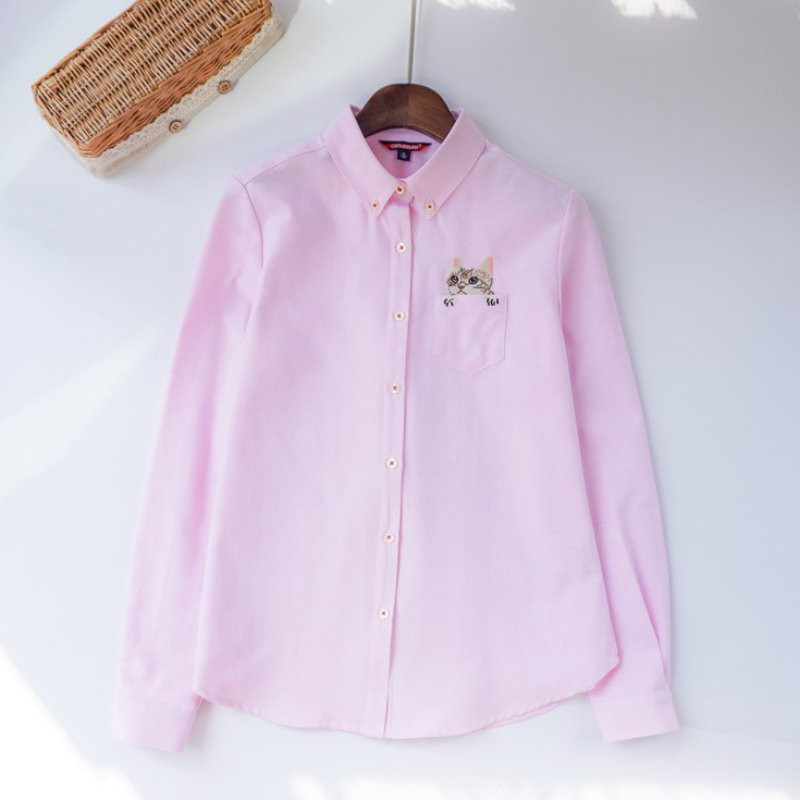 Women s Girl s Embroidery Cat Shirt Long Sleeve Casual