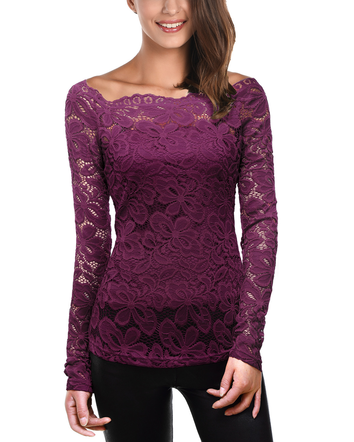 Women s Trendy Floral Lace Long Sleeves Tunic Tops Blouse