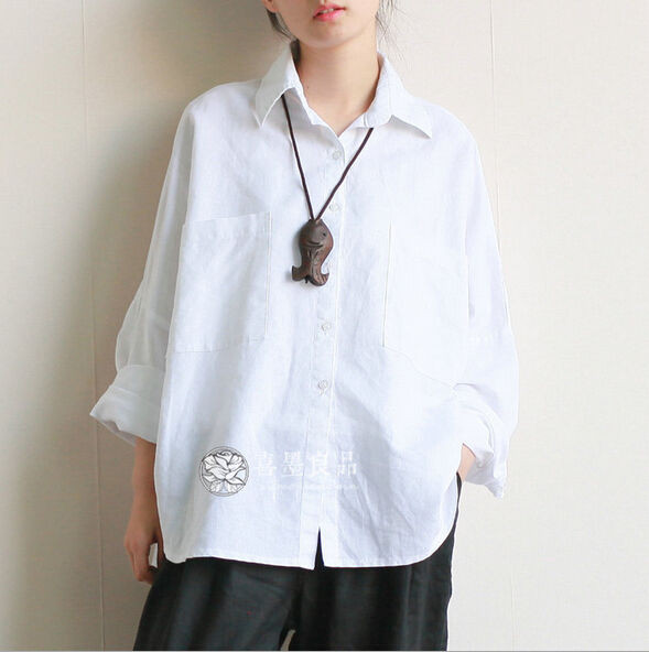 Women's Blouse Patterns New Women S Long Sleeve Casual Linen Loose tops Blouses White Of Charming 43 Pictures Women's Blouse Patterns