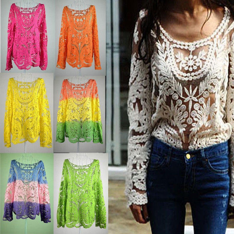 Women's Blouse Patterns Unique Women S Semi Sheer Sleeve Embroidery Floral Lace Crochet Of Charming 43 Pictures Women's Blouse Patterns