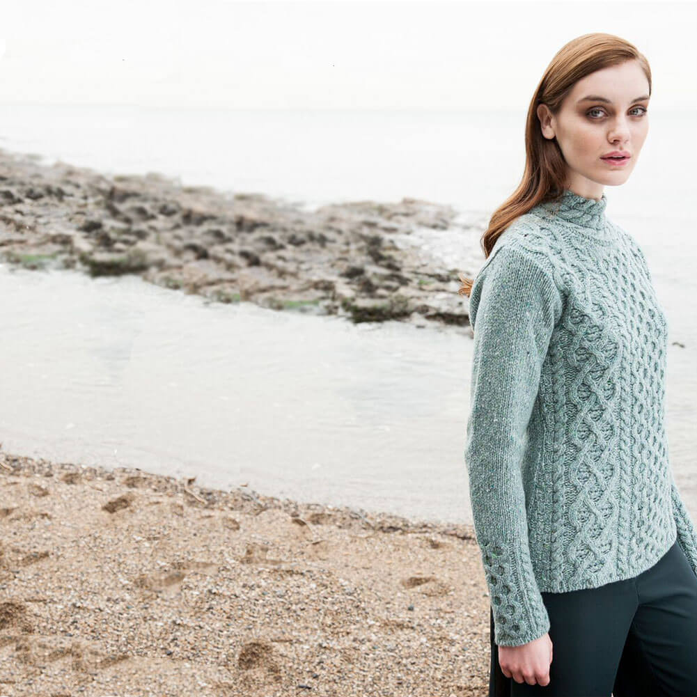 Women s Wool Sweater Claddagh Cable Knit Cashmere