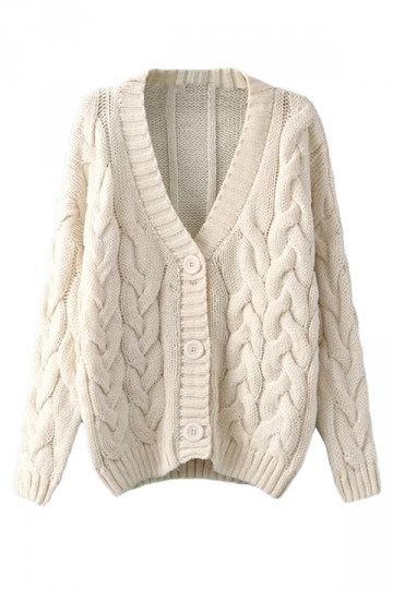 Beige White Warm Womens Cable Knit Vintage Plain Cardigan