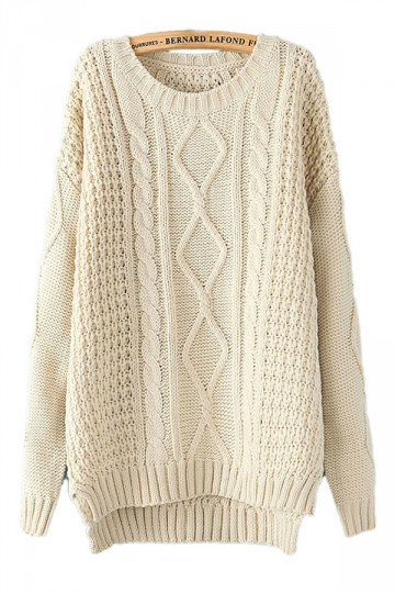 Beige White Diamond Cable Knit Sweater Winter Sweaters For