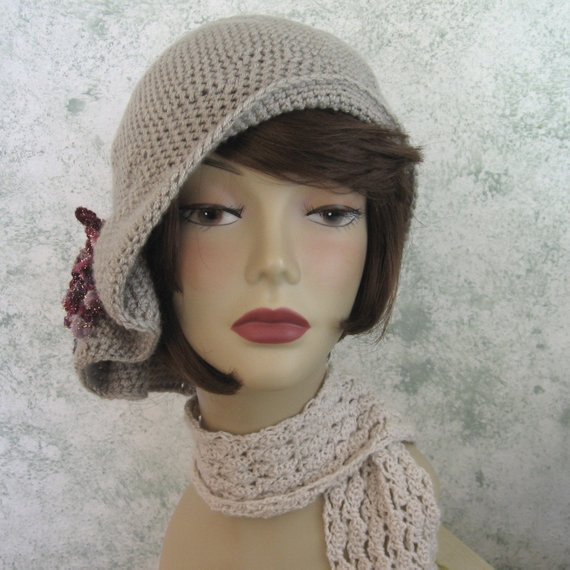 Crochet Pattern Womens Hat Flapper Style Hat With Pleats And
