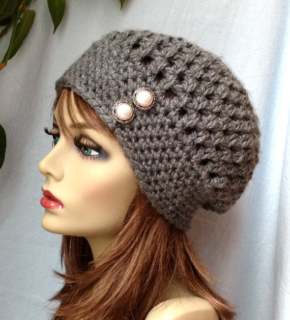 Crochet Womens Hat Slouchy Beret Charcoal Gray or Pick