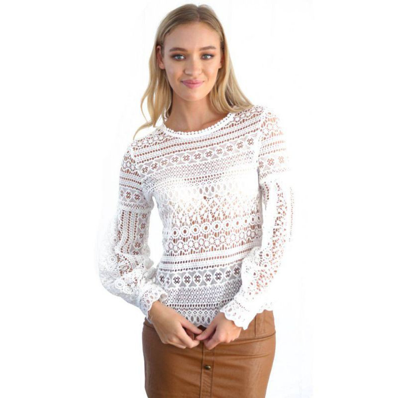 Womens Crochet tops Best Of Women Shirt Lace Crochet Hollow Out Long Sleeve Loose Of Unique 46 Pics Womens Crochet tops