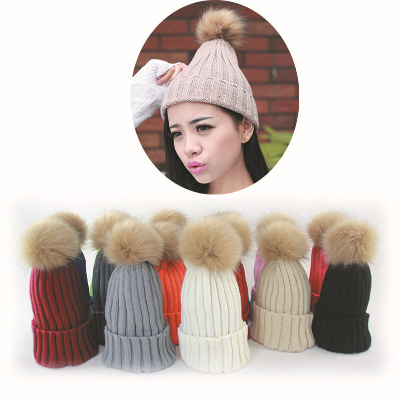 Womens Knit Hats Best Of Women Winter Knit Crochet Hat with Fur Ball Beanie Beret Of Innovative 50 Images Womens Knit Hats