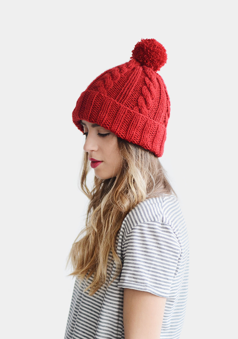 hand knit beanie red beanie hat cable