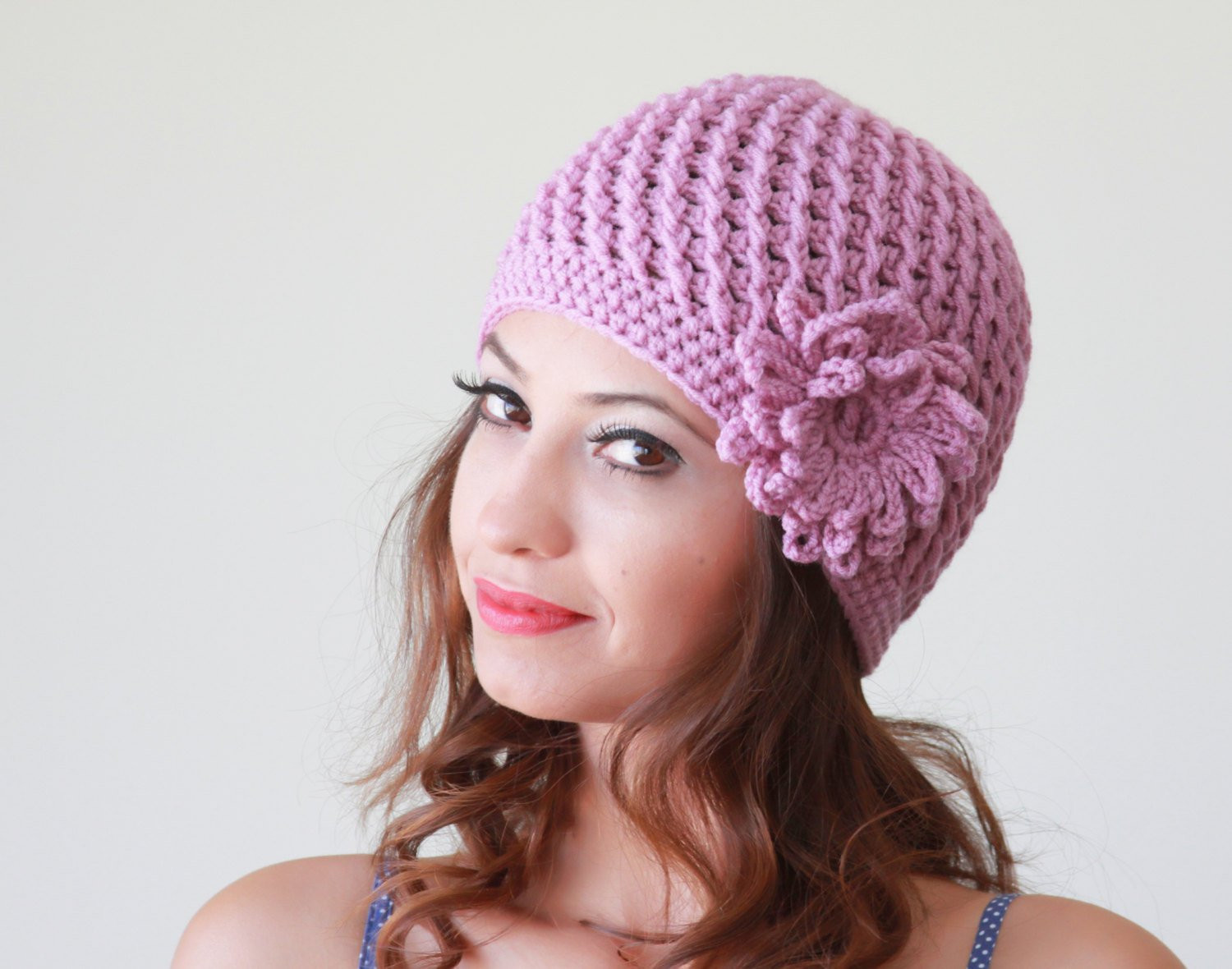 Womens Knit Hats Fresh Lilac Crochet Cap Women Hat Flower Applique Hat Hand Of Innovative 50 Images Womens Knit Hats