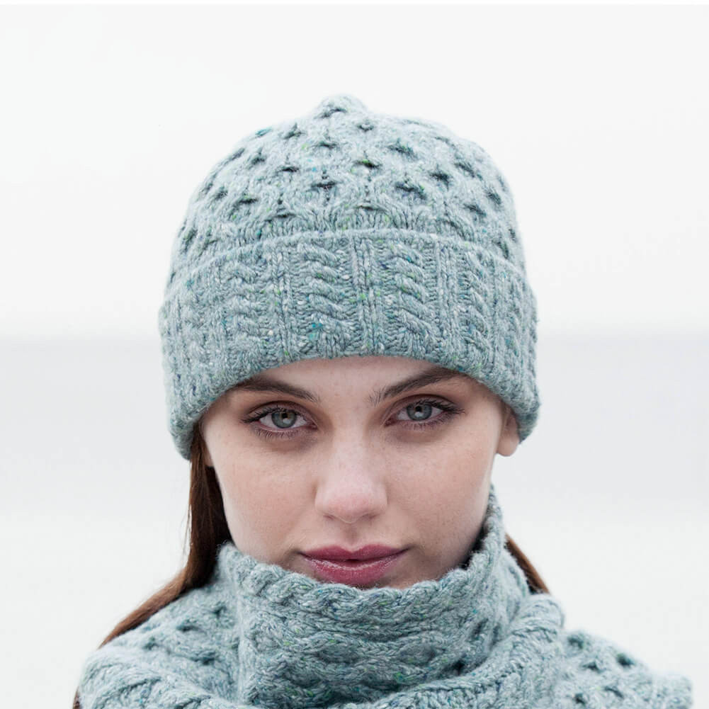 Womens Knit Hats New Women's Irish Aran Wool Hat Ocean Mist E Size Fits All Of Innovative 50 Images Womens Knit Hats
