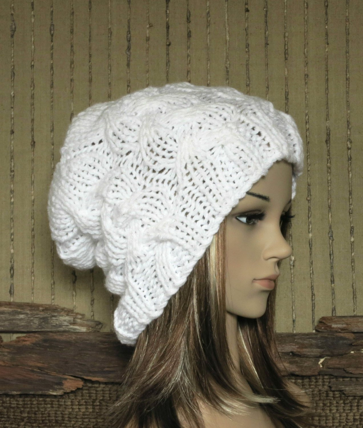 Womens Knit Hats Unique Womens Knit Hat Cable Slouchy Beanie Chunky White Hand Knit Of Innovative 50 Images Womens Knit Hats