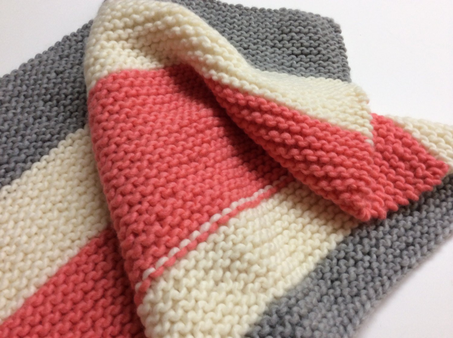 Wool Baby Blanket New Hand Knit Baby Blanket Coral Grey Cream Modern Color Of Great 45 Pics Wool Baby Blanket