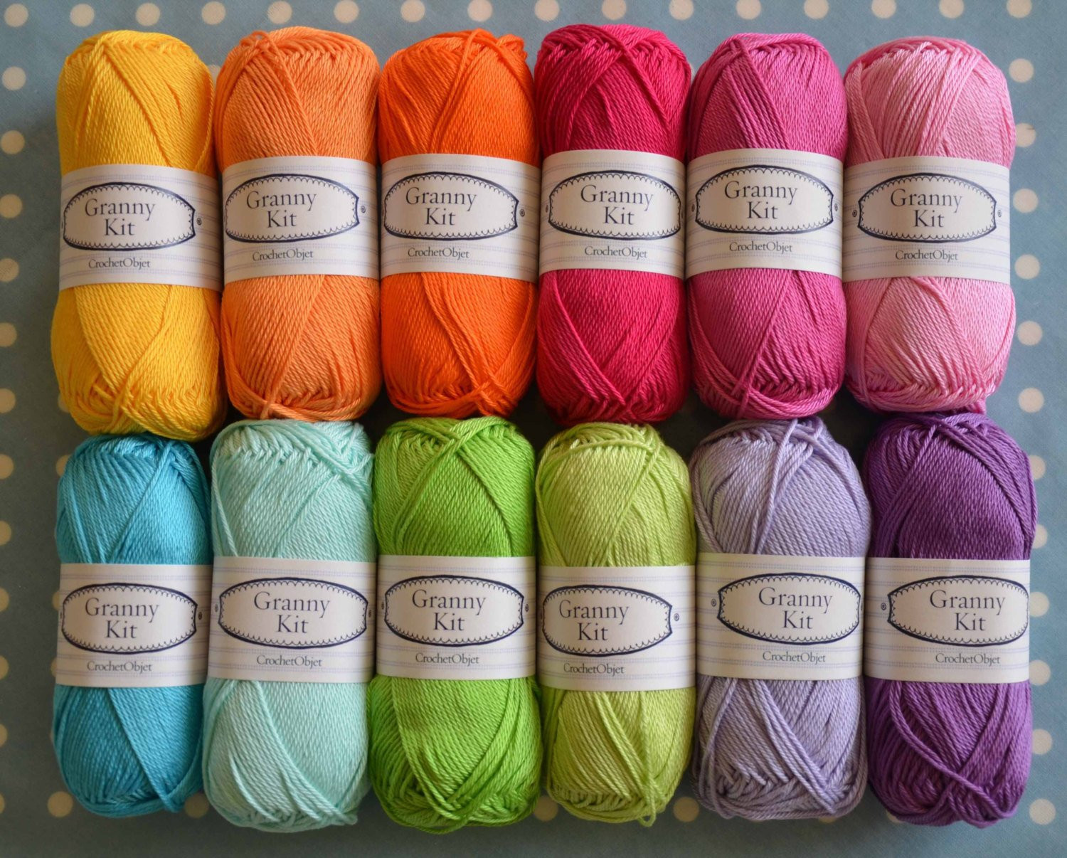 Cotton Yarns 12 colours Granny Kit Ready to ship by