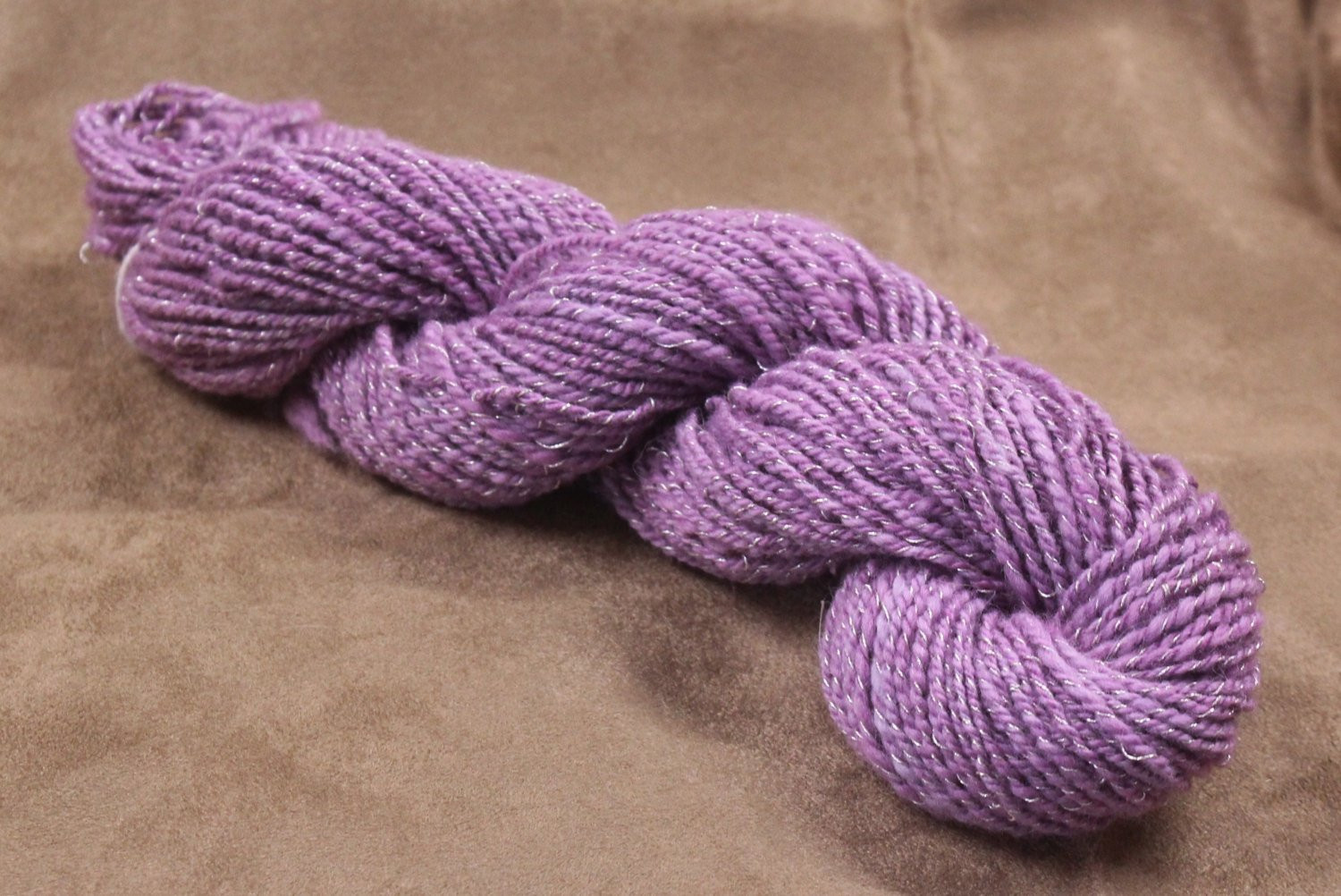Handspun DK Yarn with Metallic Thread