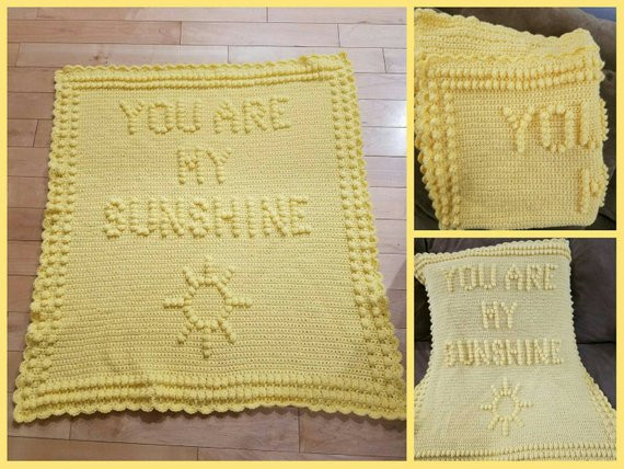 You are My Sunshine Blanket Beautiful You are My Sunshine Crocheted Blanket and Newborn Hat Set Of Luxury 29 Models You are My Sunshine Blanket